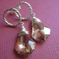 Earrings post dangle with sparkly Swarovski by RachellesJewelryBox