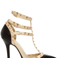 Love You Madly Studded T-Strap Pointed Heels - Black
