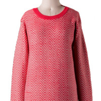 Chevron the Up and Up Sweater - Red Coral