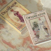 Dollhouse Two Edwardian fashion books.  1:12 dollhouse Miniature books.