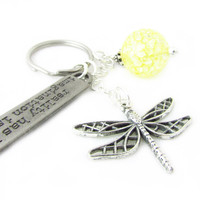 Dragonfly Keychain, Imagination is Boundless Keychain, Yellow Crystal Keyring, Dragonfly Charm Keychain, Gift for Teacher