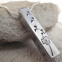 Dandelion wishes silver aluminum bar pendant necklace free shipping