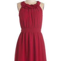 ModCloth Mid-length Sleeveless A-line Charming in Crimson Dress