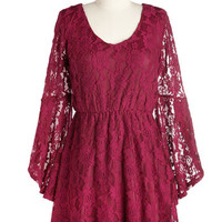 ModCloth Boho Short Length Long Sleeve A-line Best in Sangria Dress