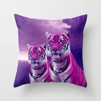 Purple Tiger and Sky Throw Pillow by Erika Kaisersot