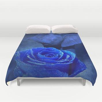 Blue Elephant and Rose Duvet Cover by Erika Kaisersot