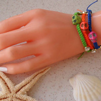 Bracelet - Skull - Macrame Bracelets - Summer Style - Beach - Summer