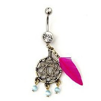 14G Pink Feather Dream Catcher Navel Barbell - 166371