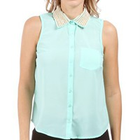 Mint Embellished Collar Sleeveless Top