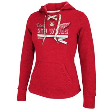 Detroit Red Wings Reebok Womens CCM Classic Ribbon Lace-Up Hoodie – Red