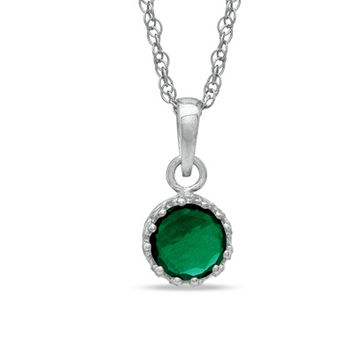 6.0mm Lab-Created Emerald Crown Pendant in Sterling Silver
