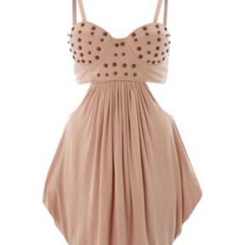 Cut out stud bustier dress