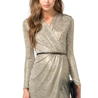 Soft Gold Surplice Dress