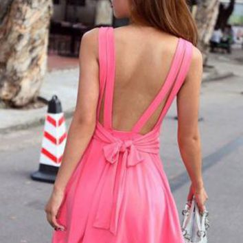 Sleeveless Backless Dress with Bow Knot Back&Round Neck