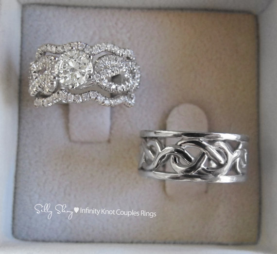 infinity knot couples rings set from sillyshiny on etsy