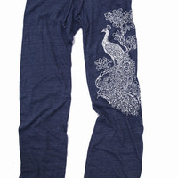 Womens PEACOCK: Eco Heather NAVY Alternative Earth Drawstring Pants (S M L or XL)