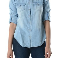 Noble U Chambray Button Down Denim Shirt with Roll-up Sleeves