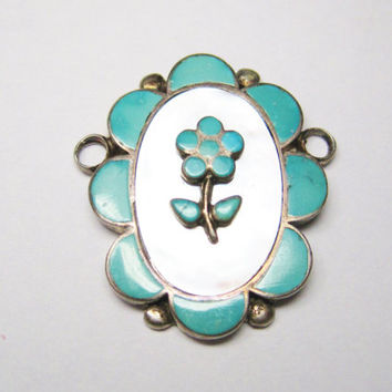 Turquoise Mother of Pearl Pendant Flower Focal Sterling Vintage Zuni
