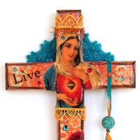 Decorated Cross Decoupaged Cross Catholic Crucifix Christian Art Virgin Mary Sacred Heart Madonna Catholic Holy Card Orange Aqua Turquoise