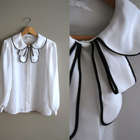 Childs Play - Vintage 70s White with Black Trim Pleated Bow Collar Peter Pan Blouse Top