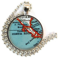 Costa Rica Vintage Map pendant charm, picture pendant, photo pendant