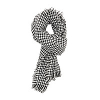 Houndstooth Fringe Wrap Scarf by Charlotte Russe - White Combo