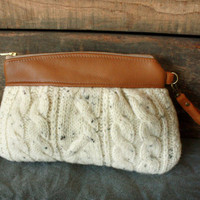 Save 10% w/ code SAVE10--Kitt Wristlet/ Pouch/ Makeup bag/ Wallet in Leather and Upcycled  Wool Cable Knit -- Ready to Ship--