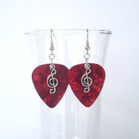 Red Treble Clef Guitar Pick Earrings
