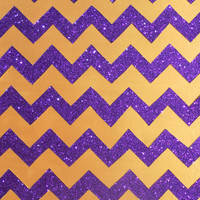 Gold and Purple Glitter Chevron