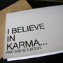 Supermarket - I believe in karma greeting card from creativity