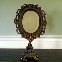 Antique Victorian Brass Cast Iron Beveled Vanity Mirror