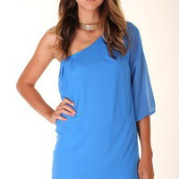 BLUE LOVELY CHIFFON DRESS WITH ONE SHOULDER WITH 3/4 SLEEVE LENGTH @ KiwiLook fashion