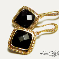 Wedding Mother of The Bride Gift Earrings 16k Gold Plated Cubic Zirconia Black Jet Glass Stone Vermeil Gold FREE US Shipping