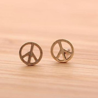 Gold Simple Peace Stud