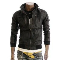 Doublju Mens Faux Leather Slim Jacket(1213)