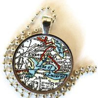 Lucerne Switzerland, Lake Luzern map necklace pendant charm, map jewelry, custom photo pendant