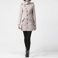 winter coat pink coat cashmere coat wool coat winter jacket militory outerwear tailored coat long coat long sleeves pocket custom M018