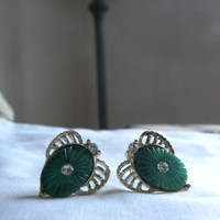 Green vintage clip on earrings