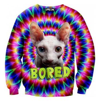 Psychedelic Bored Sphynx Kitty Cat Rainbow Trippy Graphic Print Pullover Sweater | Gifts for Cat Lovers - One