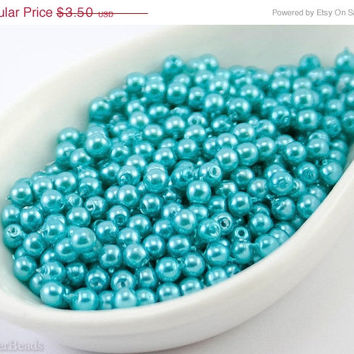 20% SALE Black Friday 3mm Turquoise Pearl Beads (150) Czech Small Glass Thin Pressed Round Druk Opaque Spacers Blue Bright