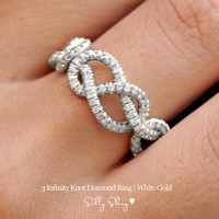 Infinity Diamond Band- 3 Infinity Knots Pave' Diamonds 14K