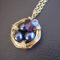 Bird Nest (gold)- Dark purple Swarovski pearls with swarovski crystal heart - by OliveBayDesigns on madeit