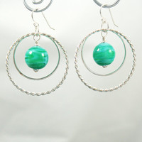 Teal Glass Earrings Marine Swirled Lampwork Beads with Sterling Silver Hoops and findings