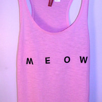 Neon Pink &#x27;Meow&#x27; Tank