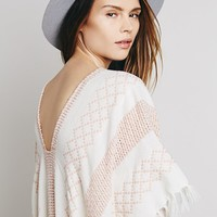 Free People Womens Maxi Weave Pullover Poncho - Ivory / Blush One