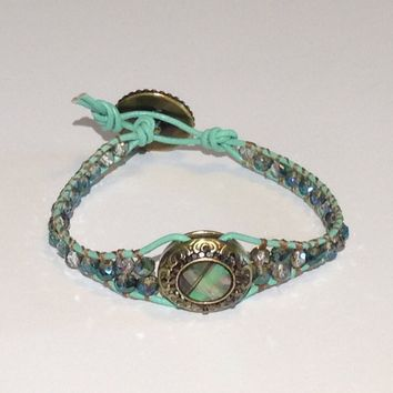 Handmade Bracelet With Bling in Mint Green