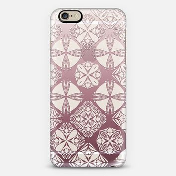 Moroccan snowflakes pink ombre transparent iPhone 6 case by Sharon Turner | Casetify