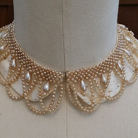 Vintage Beaded Collar Satin and Pearl Great Retro Necklace Peter Pan Style Collar.