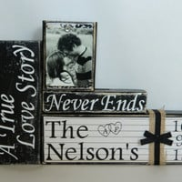 Personalized wedding gift a true love story  shabby chic wedding fall black and white rustic vintage