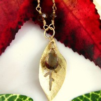 Gold leaf smokey quartz necklace